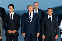 "President Donald J. Trump joins the G7 Leadership and Extended G7 members as they pose for the ""family photo"" at the G7 Extended Partners Program Sunday evening, Aug. 25, 2019, at the Hotel du Palais Biarritz, site of the G7 Summit in Biarritz, France. (Official White House Photo by Andrea Hanks)"