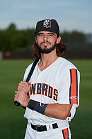 Aberdeen IronBirds Andrew Fregia (6) poses for a photo before a NY-Penn League game against the Vermont Lake Monsters on August 19, 2019 at Leidos Field at Ripken Stadium in Aberdeen, Maryland.  Aberdeen defeated Vermont 6-2.  (Mike Janes/Four Seam Images)