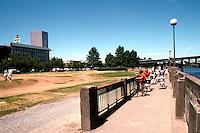 Portland: Willamette Riverfront--looking north to Morrison Bridge.  Photo '86.