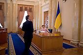 Kiev, Ukraine.July 20, 2005 ..Ukraine Prime Minister Yulia Timoshenko presides over the Cabinet of Ministers.