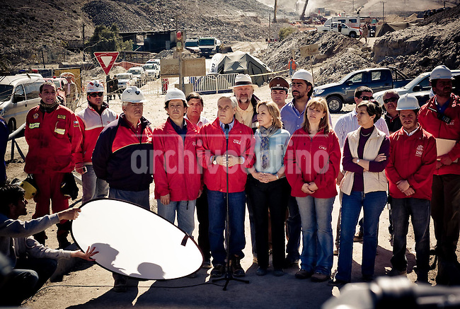 President of Chile Sebastian Pinera accompany relatives and friends of 33 miners trapped inside San Jose mine in Northern Chile camp near rescue teams digging desperately to find survivors after a collapse August 5th. Miners are believed to be alive in some shelter inside the mine, 700 meters undeground.