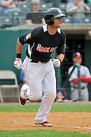 Daniel Ortiz (5) of the New Britain Rock Cats runs to first base during a game against the Portland Sea Dogs at New Britain Stadium on May 15, 2014 in New Britain, Connecticut.  Portland defeated New Britain 13-5.  (Gregory Vasil/Four Seam Images)