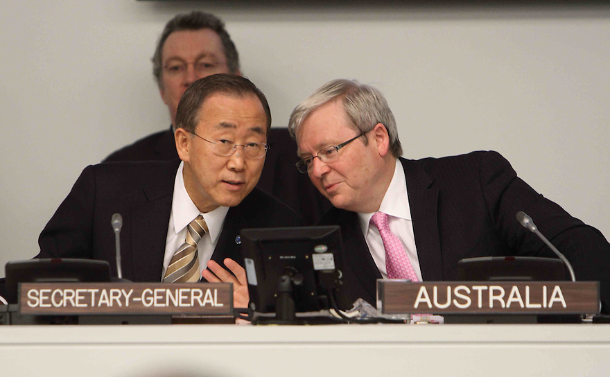 Australian Foreign Minister Kevin Rudd speaks with UN Secretary-General Ban Ki-Moon at a Ministerial Meeting on the Comprehensive Nuclear Test Ban Treaty at UN Headquarters in New York. photo by Trevor Collens.