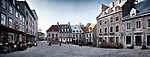 Panoramic view of Place Royale, Royal Square with boutiques and restaurants and people on the terrace of Maison Smith. Old Quebec City. Quebec, Canada. Ville de Québec.