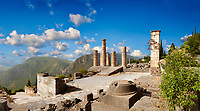Doric coloums of Delphi Temple of Apollo. and ruins of Delphi archaeological site, Delphi, Greece