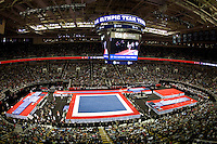 A wide angle shot of Gymnastics inside HP Pavilion during 2012 US Olympic Trials Gymnastics Finals at HP Pavilion in San Jose, California on July 1st, 2012.
