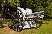 U.S. 3 Inch Field Gun Model 1905, N2 3182, in the historical district of Newington, New Hampshire, USA. This gun was manufactured by Rock Island Arsenal.