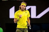 19th February 2021, Melbourne, Victoria, Australia; Stefanos Tsitsipas of Greece celebrates after winning a game during the semifinals of the 2021 Australian Open on February 19 2021, at Melbourne Park in Melbourne, Australia.