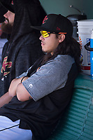 Sacramento RiverCats pitcher Dereck Rodriguez (10) enjoys the day off during a Pacific Coast League against the Tacoma Rainiers at Raley Field on May 15, 2018 in Sacramento, California. Tacoma defeated Sacramento 8-5. (Zachary Lucy/Four Seam Images)