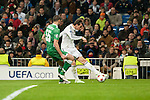 Bale of Real Madrid and Terziev of Ludogorets during Champions League match between Real Madrid and Ludogorets at Santiago Bernabeu Stadium in Madrid, Spain. December 09, 2014. (ALTERPHOTOS/Luis Fernandez)
