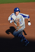 Indiana State Sycamores infielder Andy Young (16) running the bases during a game against the Vanderbilt Commodores on February 20, 2015 at Charlotte Sports Park in Port Charlotte, Florida.  Vanderbilt defeated Indiana State 3-2.  (Mike Janes/Four Seam Images)