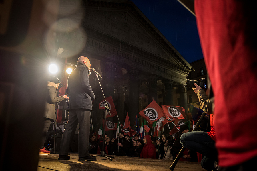 Mauro Antonini during the final election rally by the neofascist group Casa Pound in Rome, March 1st 2018.