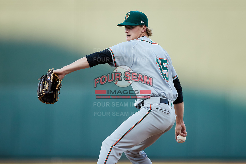 Greensboro Grasshoppers starting pitcher Quinn Priester (15) in action against the Winston-Salem Dash at Truist Stadium on June 15, 2021 in Winston-Salem, North Carolina. (Brian Westerholt/Four Seam Images)