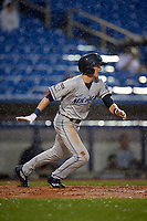 West Michigan Whitecaps center fielder Danny Woodrow (8) runs to first base during the second game of a doubleheader against the Lake County Captains on August 6, 2017 at Classic Park in Eastlake, Ohio.  West Michigan defeated Lake County 9-0.  (Mike Janes/Four Seam Images)