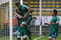 BOGOTA - COLOMBIA, 27-02-2021: Jugadores de Equidad celebran después de anotar el segundo gol de su equipo durante el partido entre La Equidad y Boyacá Chicó F.C. por la fecha 10 de la Liga BetPlay DIMAYOR I 2021 jugado en el estadio Estadio Metroplitano de Techo de la ciudad de Bogotá. / Players of Equidad celebrate after scoring the second goal of their team during match between La Equidad and Boyaca Chico F.C. for the date 10 BetPlay DIMAYOR League I 2021 played at Metropolitano de Techo stadium in Bogota city. Photo: VizzorImage / Daniel Garzon / Cont