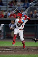 Auburn Doubledays Jake Randa (16) at bat during a NY-Penn League game against the Mahoning Valley Scrappers on August 27, 2019 at Falcon Park in Auburn, New York.  Auburn defeated Mahoning Valley 3-2 in ten innings.  (Mike Janes/Four Seam Images)