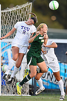 Baylor midfielder Alexa Wilde (7) and TCU midfielder Meghan Murphy (2) go up for the ball during first half of an NCAA soccer game, Friday, October 03, 2014 in Waco, Tex. TCU draw 1-1 against Baylor in double overtime. (Mo Khursheed/TFV Media via AP Images)