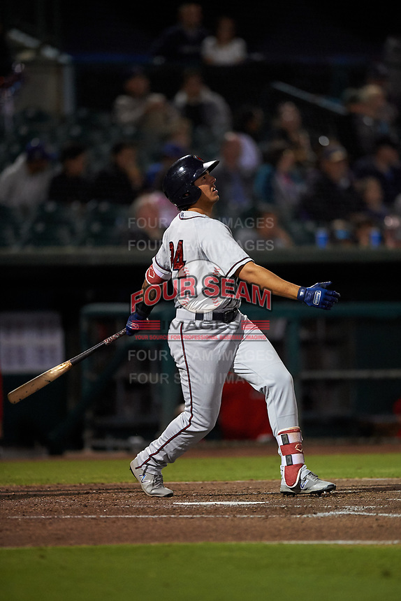 Lancaster JetHawks third baseman Colton Welker (24) follows through on his swing during a California League game against the Inland Empire 66ers at San Manuel Stadium on May 18, 2018 in San Bernardino, California. Lancaster defeated Inland Empire 5-3. (Zachary Lucy/Four Seam Images)