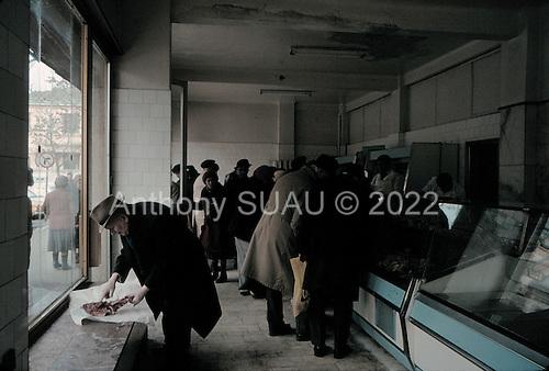 Bucarest, Romania.1990..Meat store