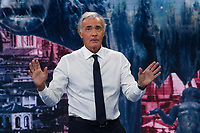 Massimo Giletti, TV host of the tv show Non e' l'arena and in the background on the screen the capitoline wolf, symbol of Rome. Giletti will probably be the candidate mayor of Rome for the centre-right party.<br /> Rome (Italy), October 11th 2020<br /> Photo Samantha Zucchi Insidefoto