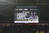 Giant screen advertisement the Premier League match between Swansea City and Leicester City at The Liberty Stadium, Swansea, Wales, UK. Saturday 21 October 2017