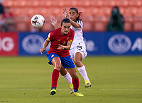 HOUSTON, TX - JANUARY 28: Melissa Herrera #7 of Costa Rica collides with Maryorie Perez #14 of Panama during a game between Costa Rica and Panama at BBVA Stadium on January 28, 2020 in Houston, Texas.
