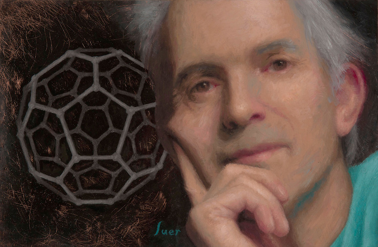 Sir Harry Kroto, oil on copper, 8 x 12 inches