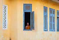 A Buddhist monk at a Monastery life and generic scenery in Battambang, Cambodia