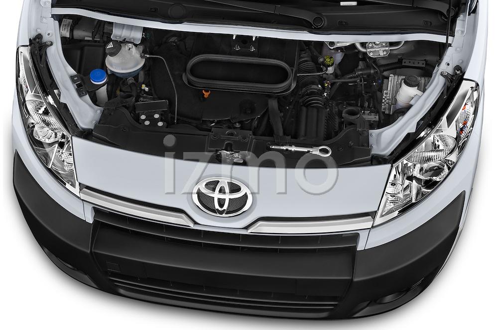Car Stock 2013 Toyota Proace Comfort 5 Door Cargo Van Engine high angle detail view