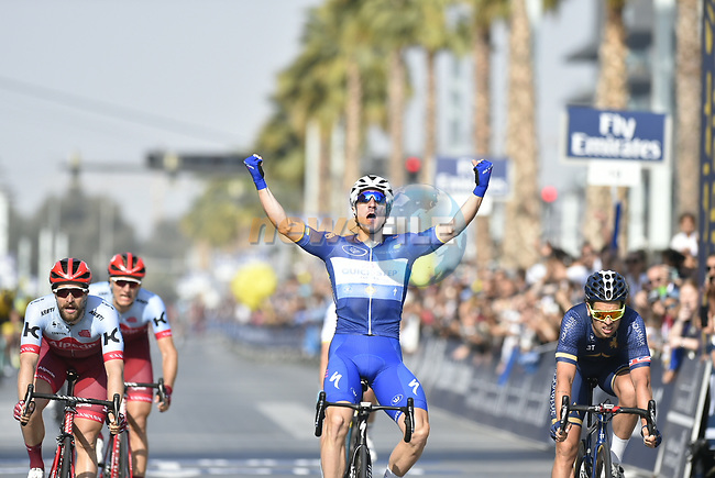 Race leader Elia Viviani (ITA) Quick-Step Floors wins Stage 5 The Meraas Stage final stage of the Dubai Tour 2018 the Dubai Tour's 5th edition, running 132km from Skydive Dubai to City Walk, Dubai, United Arab Emirates. 10th February 2018.<br /> Picture: LaPresse/Fabio Ferrari | Cyclefile<br /> <br /> <br /> All photos usage must carry mandatory copyright credit (© Cyclefile | LaPresse/Fabio Ferrari)