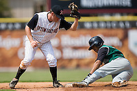 Augusta shortstop Emmanuel Burris (5) steals second base ahead of the tag by Kannapolis second baseman John Anderson (28) at Fieldcrest Cannon Stadium in Kannapolis, NC, Monday, September 3, 2007.
