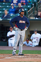 Toledo Mudhens outfielder Daniel Fields (29) stands at home after being called out by umpire Chad Whitson (not pictured) during a game against the Rochester Red Wings on May 12, 2015 at Frontier Field in Rochester, New York.  Toledo defeated Rochester 8-0.  (Mike Janes/Four Seam Images)