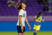 ORLANDO, FL - JANUARY 18: Carli Lloyd #10 of the USWNT reacts to a missed shot during a game between Colombia and USWNT at Exploria Stadium on January 18, 2021 in Orlando, Florida.
