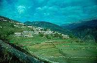 .The village of Ghandrung in the foothills of the Annapurna range, Nepal Himalaya..