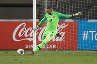 13th October 2020; National Stadium of Peru, Lima, Peru; FIFA World Cup 2022 qualifying; Peru versus Brazil; Keeper  Weverton of Brazil punts long upfield