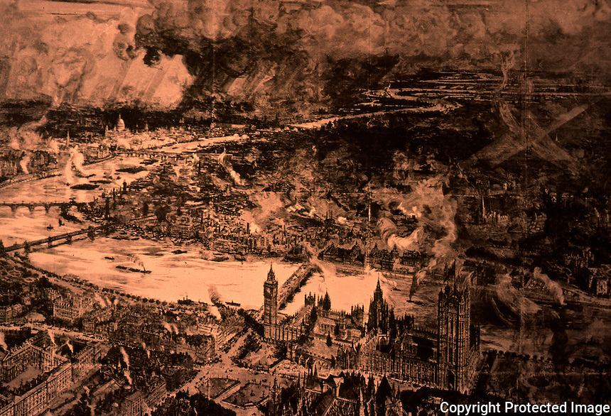 London: Aerial View from Westminster, 1886. Engraving from sketches done in a balloon.  Reference only.