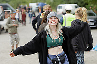 Pictured: A young woman dances. Monday 31 August 2020<br /> Re: Around 70 South Wales Police officers executed a dispersal order at the site of an illegal rave party, where they confiscated sound gear used by the organisers in woods near the village of Banwen, in south Wales, UK.