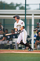 GCL Pirates first baseman Nick Patten (17) follows through on a swing during the second game of a doubleheader against the GCL Yankees East on July 31, 2018 at Pirate City Complex in Bradenton, Florida.  GCL Pirates defeated GCL Yankees East 12-4.  (Mike Janes/Four Seam Images)
