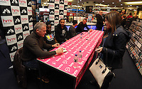 """Pictured L-R: Alan Curtis, Nathan Dyer, Ashley Williams, Leon Britton and Lee Trundle Wednesday 14 January 2015<br /> Re: Swansea City footballers have signed copies of the """"Jack To A King """" dvd at HMV store in the Quadrant, Swansea, south Wales."""