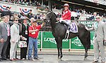 Channel Marker (no. 10), ridden by Francisco Torres and trained by Philip Bauer, wins the 32nd running of the grade 3 Jaipur Invitational Stakes for four year olds and upward on June 06, 2015 at Belmont Park in Elmont, New York. (Bob Mayberger/Eclipse Sportswire)