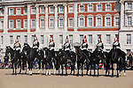 Great Britain, England, London: The Blues and Royals squadron of the Household Cavalry Regiment changing the Queen`s Life Guard at Horse Guards, Whitehall