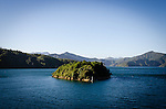 Marlborough Sounds, NEW ZEALAND - January 17: A small island in the Marlborough Sounds seen from the Interislander Aratere. January 17, 2015 in Malborough Sounds, New Zealand.  REAL PEOPLE.  (Photo by Elias Rodriguez/ real-people.co.nz)