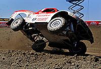 Jun. 26, 2009; Lake Elsinore, CA, USA; LOORRS unlimited 2 driver Rodrigo Ampudia loses control during qualifying. Mandatory Credit: Mark J. Rebilas-
