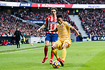 Johan Andres Mojica Palacio (R) of Girona FC competes for the ball with Sime Vrsaljko of Atletico de Madrid during the La Liga 2017-18 match between Atletico de Madrid and Girona FC at Wanda Metropolitano on 20 January 2018 in Madrid, Spain. Photo by Diego Gonzalez / Power Sport Images