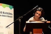 SAO PAULO, 01 DE AGOSTO DE 2012 - ELEICOES 2012 - Candidata Soninha Francine, durante campanha Copa, Olimpiadas, Eleicoes - Qual o legado para sua cidade, na manha desta quarta feira, no auditorio do sesc Consolacao, regiao central da capital. FOTO: ALEXANDRE MOREIRA - BRAZIL PHOTO PRESS