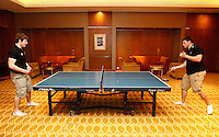 Photo: Richard Lane/Richard Lane Photography. London Wasps in Abu Dhabi for their LV= Cup game against Harlequins on 30st January 2011. 27/01/2011. Elliot Daly and Tom Lindsay relaex by playing table tennis in the players room at the Emirates Palace.