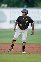 Bristol Pirates third baseman Sherten Apostel (47) leads off second base during the second game of a doubleheader against the Bluefield Blue Jays on July 25, 2018 at Bowen Field in Bluefield, Virginia.  Bristol defeated Bluefield 5-2.  (Mike Janes/Four Seam Images)