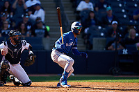 Toronto Blue Jays Josh Palacios (77) bats during a Spring Training game against the New York Yankees on February 22, 2020 at the George M. Steinbrenner Field in Tampa, Florida.  (Mike Janes/Four Seam Images)