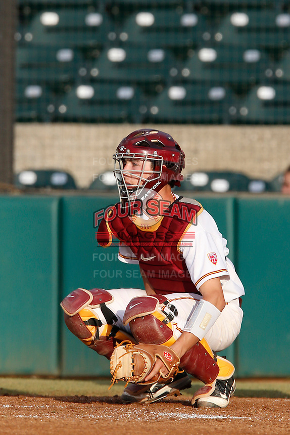 Garrett Stubbs #51 of the USC Trojans during a game against the Stanford Cardinal at Dedeaux Field on April 5, 2013 in Los Angeles, California. (Larry Goren/Four Seam Images)