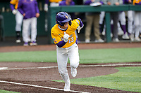 LSU Tigers shortstop Jordan Thompson (13) in action against the Tennessee Volunteers on Robert M. Lindsay Field at Lindsey Nelson Stadium on March 28, 2021, in Knoxville, Tennessee. (Danny Parker/Four Seam Images)